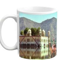 Jiyacreation1 Beautiful Jal Mahal With Nice View Multicolor White Ceramic Mug (350 Ml)