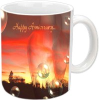 Jiyacreation1 Happy Anniversary With Bubbles Design White Ceramic Mug (350 Ml)