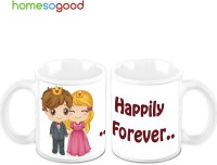 Homesogood Happily Married Forever (Pack Of 2) Ceramic Mug (325 Ml, Pack Of 2)