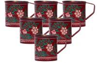 ECraftIndia Handpainted Decorative Stainless Steel Mug (180 Ml, Pack Of 6)