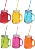 ZIDO Colorful Designer Mason Jar Glass Mug (450 Ml, Pack Of 6)