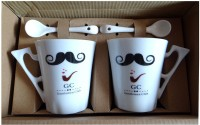 Satyam Kraft Gentlemens Club S - Moustache And Pipe Mug With Ceramic Spoon And Box Packing - Version 3 Ceramic Mug (340 Ml, Pack Of 2)