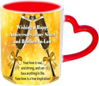Jiyacreation1 Happy Anniversary For Sister & Brother In Law Red Heart Handle Ceramic Mug (3.5 Ml)