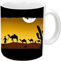 Jiyacreation1 Sunset With Camels Multicolor White Ceramic Mug (350 Ml)