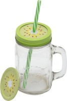 Www.thepaper.asia Jar  With Cap & Straw 300ml Kiwi Glass Mug (300 Ml)