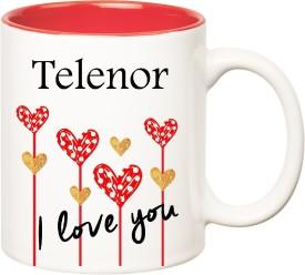 HuppmeGift I Love You Telenor Inner Red  (350 ml) Ceramic Mug