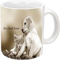 Jiya Creation1 Best Friends Forever With Cat & Dog White Ceramic Mug (350 Ml)
