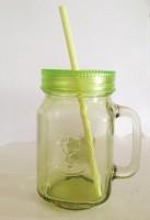 Its Our Studio Colored Mason Jars With Straw & Plastic Lid Glass Mug (400 Ml)