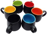 Buyer's Beach Black Duo-Tone Pitcher Shape Cup Set Of-6 Ceramic Mug (180 Ml, Pack Of 6)