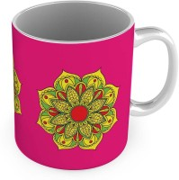 Little India Yellow Flower Printed Design Fancy Pink Coffee  563 Ceramic Mug (300 Ml)