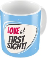 Little India Blue Designer Romantic Printed Coffee  707 Ceramic Mug (300 Ml)