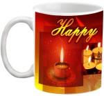 EFW Cups & Mugs EFW Happy Diwali Red Candles Theme Printed Coffee Ceramic Mug