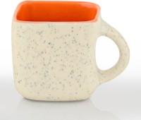 Sahajpreet Beige Orange Tone Square Handcrafted Marble Finish Tea Cups Ceramic Mug (150 Ml, Pack Of 6)