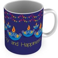 Little India Decorative Design Print Blue Delightful Coffee  576 Ceramic Mug (300 Ml)