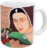 Jiyacreation1 Ralasthani Gouri Multicolor White Ceramic Mug (3.5 Ml)