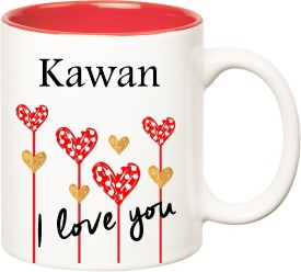 HuppmeGift I Love You Kawan Inner Red  (350 ml) Ceramic Mug