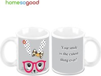 Homesogood The Cutest Smile (Pack Of 2) Ceramic Mug (325 Ml, Pack Of 2)