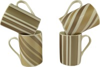 Gifts And Style Style Stripes Brown Ceramic Mug (300 Ml, Pack Of 4)