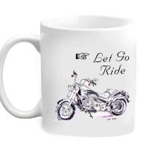 RajLaxmi Let Go Ride Sketched Bike White  Ceramic Mug (350 Ml)