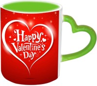 Jiya Creation1 Heart With Happy Valentines Day Green Handle Ceramic Mug (350 Ml)