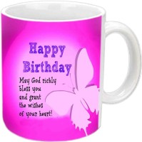 Jiyacreation1 Nice Quote & Design Happy B'day Mom White  Ceramic Mug (3.5 Ml)