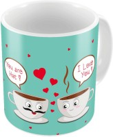 Little India Blue Designer Romantic Print Coffee S Pair 701 Ceramic Mug (300 Ml, Pack Of 2)