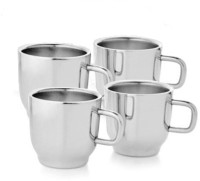 Verow Double Wall Cup Set Of 4 Stainless Steel Mug (150 Ml, Pack Of 4)