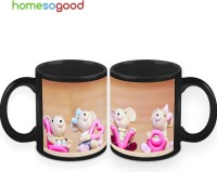 HomeSoGood Just Spread Love Coffee Ceramic Mug (325 Ml, Pack Of 2)