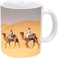 Jiyacreation1 Ship Of Desert Camel Multicolor White Ceramic Mug (3.5 Ml)