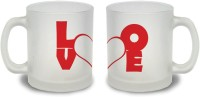 StyBuzz Love Typography Red Couple Frosted Mug Glass Mug (300 Ml, Pack Of 2)