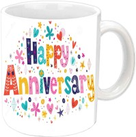 Jiyacreation1 Happy Anniversary With Colorful Fonts White Ceramic Mug (350 Ml)