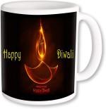PhotogiftsIndia Plates & Tableware PhotogiftsIndia Yellow Diya With Happy Diwali Coffee Ceramic Mug