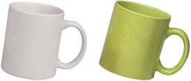 Snapgalaxy White and Green Combo Pack 2pcs Ceramic Mug
