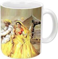 Jiyacreation1 Rajasthani Couple With Desert View Multicolor White Ceramic Mug (350 Ml)