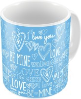 Home India Blue Designer Romantic Printed Coffee S Pair 709 Ceramic Mug (300 Ml, Pack Of 2)