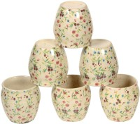 Inhomez Cream Stoneware Ceramic Kullar Decal- Set Of 6 Ceramic, Pottery Mug (100 Ml, Pack Of 6)