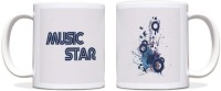 ShopMantra Music Star Black Ceramic Mug (300 Ml)