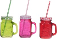 ZIDO Colorful Designer Mason Jar Glass Mug (450 Ml, Pack Of 3) - MUGEGH3UDWGFUESB
