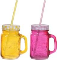 ZIDO Colorful Designer Mason Jar Glass Mug (450 Ml, Pack Of 2) - MUGEGH42D74HVEVQ