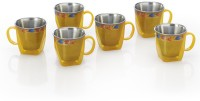RK Super Lock & Seal Insider Gold Star Tea And Coffee Stainless Steel, Plastic Mug (110 Ml, Pack Of 6)