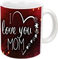 Jiyacreation1 I Love You Mom In Heart Flower Shape White Ceramic Mug (3.5 Ml)