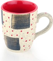 SahajPreet Beig & Red Dotted Handcrafted Marble Finish Duo Tone Milk/Coffee  Ceramic Mug (300 Ml, Pack Of 2)