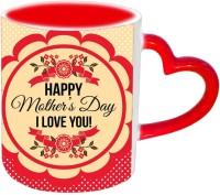 Jiyacreation1 Happy Mother's Day I Love You Mom Red Heart Handle Ceramic Mug (3.5 Ml)