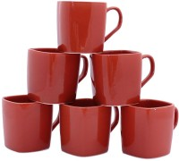 Aarzool Maroon Square Cups Ceramic Mug (200 Ml, Pack Of 6)