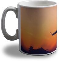 Artifa Aeroplane In The Sky Mug (Multicolor, Pack Of 1)
