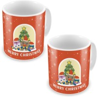 Little India Printed Design Cute Orange Coffee S Pair 617 Ceramic Mug (300 Ml, Pack Of 2)