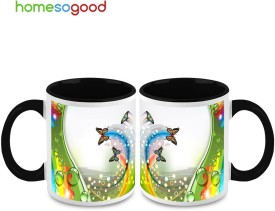 HomeSoGood Coloring The Flying Path (Qty of 2) Ceramic Mug