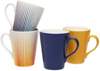 IVY By Home Stop Rays Mugs - Set Of 4 Bone China Mug (365 Ml, Pack Of 4)