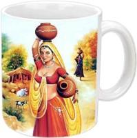 Jiyacreation1 Rajasthani Panihari Multicolor White Ceramic Mug (3.5 Ml)