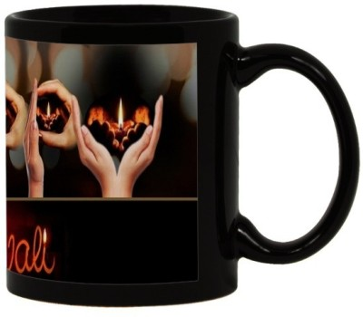 Lolprint 54 Diwali Gift Black Ceramic Mug